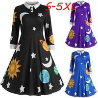 Moda Bayan Güneş Ve Ay Yıldız Baskı Elbise Botton Bayanlar Ile Uzun Kollu Flare Bağbozumu Elbise Kadınlar Ortaçağ Robe