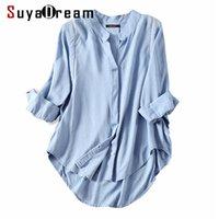 Suyadream frauen fall bluse 50% 50% leinen 3/4 sleeved weiße blusen büro dame hemd winter hellblau