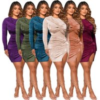 Casual Dresses Sexy Lady Skirt Sets 2021 Autumn Full Sleeves Fashion Round Neck Bodysuit Slim Waist Bodycon Two Piece Side Split Skirts