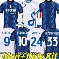 Inter 2021 2022 Jerseys de football Lukaku Milan Vidal Barella Lautaro Eriksen Alexis Hakimi 20/21 Chemise de football Hommes + Kids Kit Home Away 4ème quatrième