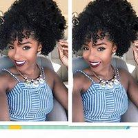 Afro Puf Bun Bangs At Kuyruğu Hairpieces Ile Afro-Amerikan Kısa Afro Kinky Kıvırcık Brezilyalı İpli At Kuyruğu Saç Uzatma 100% İnsan