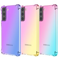 Étuis de téléphone TPU transparents transparents de gradient coloré pour Samsung S21 S20 S10 S9 Note 20 10 9 8 Plus Ultra S7 Edge