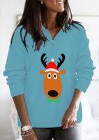 Women's Hoodies & Sweatshirts Christmas Loose Plus Size Stand Collar Zipper Long Sleeve Sweatshirt Womens Winter Tops