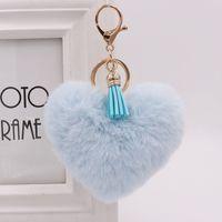 10pieces / lot 심장 pompom 키 체인 여러 가지 빛깔의 pompom 키 체인 레이디 핸드백 열쇠 고리 수제 술 액세서리 열쇠 고리 펜던트 decoratio