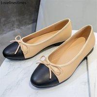 Bale Düşük Topuklu Ayakkabı Kadın Temel 2021 Iki Renk Ekleme Yuvarlak Ayak Deri Yay Klasik Tüvit Kumaş Çalışma Ayakkabıları Kadın Ayakkabı Pompası 210302