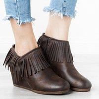 Monerffi Женщины короткие сапоги бахромы Boots Boots Zippers Platform Высокий каблук Женщины PU Кожаный ботинок Botas Mujer P0be #