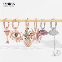 Dangle Chandelier J.Shine Asymmetric rame intarsiato zircone piccoli orecchini per le donne 2021 alla moda occhio ananas lettera vino vetro huggie