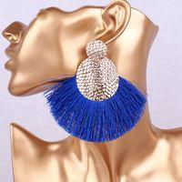 Dangle & Chandelier Tassel Green Earring Bohemian Statement Long Jewelry Handmade Women Geometric Fringe Fashion Big Wedding Gold