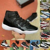 Top Qualité Hommes Femmes 11 Chaussures de basket-ball Jubilé 25e Anniversaire Playoffs Bred Space Sneakers 11s Jordán Concord 45 Cap et robe Cool Grey Trainer Sports Sports Sports