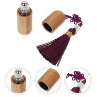 Depolama şişeleri kavanoz parfüm uçucu yağ alt paketli cam şişe ile bambu kabuk