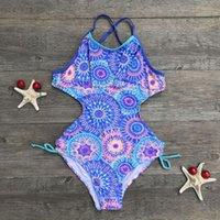 Umas Peças de Swimwear Infantil Teen Children Meninas Imprimir África Estilo Arte de Piece Swimsuit Beach Kids Lovely Roupas