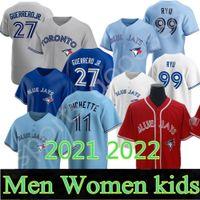 2021 2022 맞춤형 27 Vladimir Guerrero Jr. Toronto Jersey Blue Jays George Bell Joe Carter Roberto Alomar Justin Smoak Morris Martin Donaldson 야구 유니폼