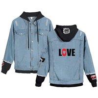 Мужские куртки моды печати любовь джинсовая куртка спорт хип-хоп стиль мужчины женщины с длинным рукавом поддельные две части джин-куртки с капюшоном стрит одежды