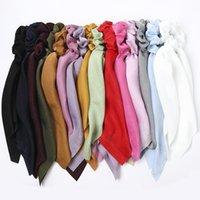 Zoete korea boog vrouwen satijn scrunchies elastische haarband meisjes haar sjaal vrouwelijke haar stropdas haar touw ring haren accessoires heet