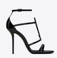 Летние женские сандалии бренд-обувь Кассандра черные патентные кожи сандалии спекутоидные с сексуальными тонкостями каблуки на лодыжке леди письмо сандалии