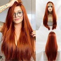 Realistic Long Straight Synthetic Lace Front Wigs Copper Orange Red Pink Blonde Yellow Natural Looking High Temperature Fiber For Women