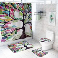Shower Curtains 3D Flowers Trees Curtain Sets Toilet Lid Cover And Bath Mat Non-Slip Rugs Waterproof Wholesaler Colorful Bathroom