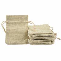 7 * 9cm 50pcs / lot mini couleur naturel sac de couleurs nature fausse jute cordon de cordon petit bague bijoux cadeau de mariage sac d'emballage