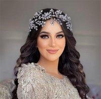 Pageant Crown Tiara For Wedding Bride Crystal Rhinestone Headband Hairband Hair Accessories Jewelry Silver Fashion Women Headpiece Korean Flower Bands Bling
