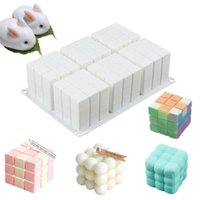 Craft Tools 3D Cube Baking Mousse Cake Silicone Mold DIY Soy Wax Candle Molds Aroma Plaster Forms Dessert Bakeware Mould