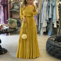 Fashion Off Shoulder Vestidos Female Lace Up Belted Dresses Beach Holiday Ruffle Robe Womens Bohemian Long Maxi Dress 5XL Casual