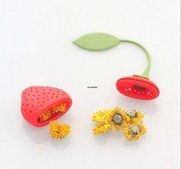 실리콘 티 필러 가방 딸기 모양 실리콘 차 주입기 스트레이너 HWB9507