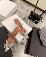 2021 Yeni Resmi Kalite Amina Ayakkabı Begum Kristal-Süsüklü PVC Slingback Pompaları Muaddi stokları Begum PVC Slingbacks 10 cm Yüksek Topuk
