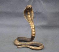 Китайский Китай ручной работы латунь бронзовая статуя счастливчик Cobra скульптура