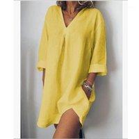 Donne Abiti da camicia allentati Abiti a maniche lunghe con scollo a V Casual Solid Felman Abito giallo Casa per il tempo libero Pocket Pocket Bianco Vestidos 4xL1