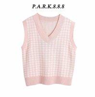 Park888 Женщины 2020 Модная мода Негабаритный Набитый вязаный жилет-жилет свитер Винтаж без рукавов боковые вентиляционные вентиляционные женские жилетки шикарные вершины