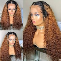 Lace Wigs Quinlux Wig Highlight 1B 30 Ombre Color 13X6 HD Transparent Front Human Hair Curly Brazilian Remy 150 Density Glueless