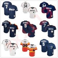 Retro Erkek Kadın Çocuklar Gençlik Astros Jersey Dikişli Gerileme 7 Craig Biggio Houston Knit Astro 34 Nolan Ryan 5 Jeff Bagwell Vintage Beyzbol Formaları