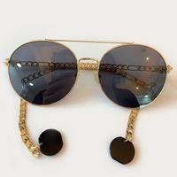 Güneş Gözlüğü Klasik Moda Yuvarlak Kadın 2021 Alaşım Çerçeve Lüks Trend Güneş Gözlükleri Kadın UV400 Gözlük Erkekler Zincir Ile