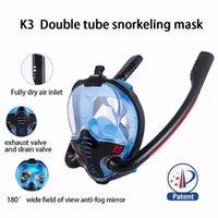 Nova Máscara De Mergulho Máscara Máscara Subaquática Anti Nevoeiro Rosto Full Face Snorkeling Mulheres Homens Crianças Natação Snorkel Mergulho Equipamento 2 Tubo