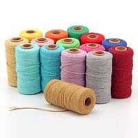 Hilo 100m Cuerda Twisted-Cordón 100% Algodón Colorido Cuerda Macrame Macrame Cuerda Cuerda Hilo Fiesta Decoración de Boda Accesorio DIY