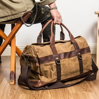 Duffel Bags Waxed Canvas Leather Men's Travel Bag Hand Luggage Carry On Large Men Duffle Tote Big Weekend Overnight