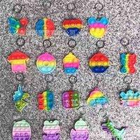 Динозавр Unicorn Push Sopper Fidge Key Ring Toys Macaron Rainbow Sensosy Squeeze Пальца Игрушка Брелок Стресс Стресс Города Средства Средства Для Детей Детские Рождество H929VLM