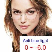 Sunglasses 2021 Fashion Myopia Optical Glasses Women Metal Cat's Eye Frame Anti Blue Light Computer Eyeglasses Minus -2 -3 -6