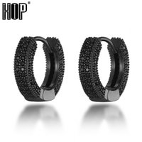 Small Round Hoop Earring Iced Out Colorful Cubic Zircon Copper Stud Circle Hoops For Men Women Hip Hop Jewelry