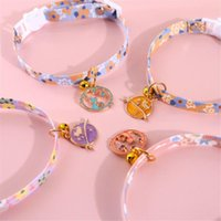 Cat Collars & Leads Pet Necklace Dog Adjustable Flowers Daisies Safety Buckle Collar With Bell Pendant Accessories