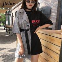 Jielur Patchwork Kadın Tişörtleri Sahte İki Adet Sashes Yenilik Vintage Yüksek Sokak Tee Kadın Hit Renk Grace Basit Femme 210302