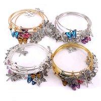 Charm Bracelet 5pcs Bangle Set Wire Bracelets for Women Girls Jewllery Butterfly Dragoy Bow Charms Bangles Cuff Jewlery C044