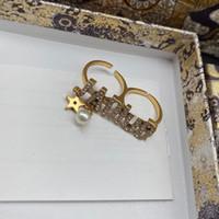 Joyería de diseño de lujo Anillos de mujer Double Fingers Anillo con estampillas de letras de estrellas y anillos de compromiso de boda de diamantes estilo Fahion Style