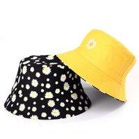 와이드 브림 모자 2021 봄 패션 작은 데이지 양동이 모자 여성 면화 해변 태양 모자 양면 착용 파나마 여름 자외선 차단 어부
