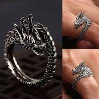 Прохладные отверстия кольца мужчины женские ювелирные изделия регулируемые стерлинговым драконом кольцо хорошие подарки сплава животных металлов унисекс готический панк кольцо