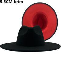 9.5 cm Geniş Kararmış Yün Big-Blimmed Caz Üstü Şapka Sonbahar Kış Bayanlar Siyah Kırmızı Işık Üst Fedora Şapka Moda Erkekler Panama