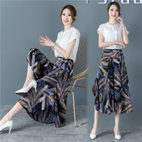 2021 Spring Summer Floral A-line Half Length Skirt Cotton Silk Middle-aged and Elderly Wide Leg Pant's s Medium