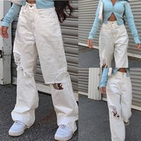 Frauen Jeans Telotuny 2021 Frau Denim Weibliche Hohe Taille Button Tasche Feste Farbe Frauen Baggy Löcher Hose Lose Hose