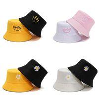 Широкие шляпы Breim Spring Women Bucket Рыбалка солнцезащитный крем Солнцезащитная крышка Маленькая ромашка улыбка Двусторонняя одежда Леди Рыбак