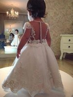 Girl's Dresses White Flower Girl O-Neck Tulle Aleeveles Lace Applique Elegant First Holy Communion Party Pageant Ball Gown